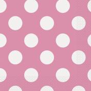 17cm Hot Pink Polka Dot Paper Napkins, Pack of 16