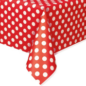Plastic Tablecover 140cm x 270cm -Ruby Red Decorative Dots