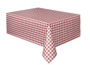 Red and White Gingham Cheque Plastic Tablecloth