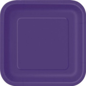 23cm Square Deep Purple Party Plates, Pack of 14