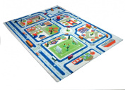 Little Helper IVI Exclusive Thick 3D Childrens Play Mat & Rug in a Colourful Town Design with 3 Dimensional Football Pitch, Car Parks & Roads, Blue
