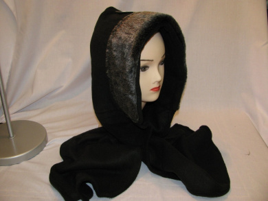 Ladies All In One Fleece Hood & Scarf With Faux Fur Trim Black