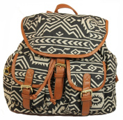 Serena Aztec Print Rucksack / Backpack / School Bag in Black Beige -- SwankySwans