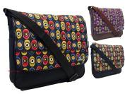Girls Womens Eyes Circles Patterned Emo School College Messenger Shoulder Bag