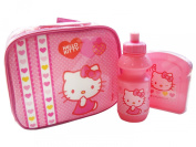 Hello Kitty Girls Pink Insulated School Lunch Bag / Box Kit : Includes Sandwich Box, Sports Water / Drinks Bottle & Lunch Bag With Character Front Cover & Clear Visible Back Cover - Official Hello Kitty Merchandise
