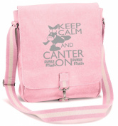 Funky Filly Pony Girls Silver Stallion 'Keep Calm and Canter On' Vintage Canvas Messenger School Bag Pink, Long Adjustable Shoulder Strap, Zipped Rear Pocket, Zipped Internal Pouch Pocket, Silver Pewter Clip Fastening, size 34 x 29 x 10 cm ..