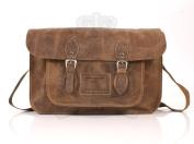 38cm Dark Tan Hunter Leather Leather Oxbridge Satchel - Magnetic Clasp - Classic Retro Fashion laptop / school bag