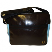Fred Perry Shoulder Bag / Messenger School Gym Record Bag Chocolate with Blue