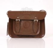 28cm Chestnut Brown Leather Leather Oxbridge Satchel - Magnetic Clasp - Classic Retro Fashion laptop / school bag