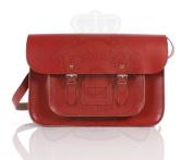 38cm Pillarbox Red Real Leather Oxbridge Satchel - Classic Retro Fashion laptop / school bag