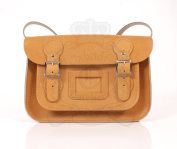 28cm Tan English Satchel - Classic Retro Fashion laptop / school bag