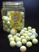 NEW 90 + 1 GLASS MARBLES IN JAR TRADITIONAL WHITE OPAQUE SK