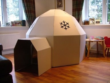 White Kid-Eco Cardboard Igloo Playhouse Kit