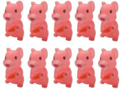 Viskey 10pcs Pink Hamsters Baby Bath Tub Bathing Rubber Squeaky Toys