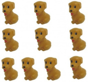 Viskey 10pcs Brown Puppy Baby Bath Tub Bathing Rubber Squeaky Toys