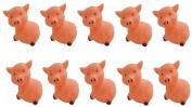 Viskey 10pcs Pink Pigs Baby Bath Tub Bathing Rubber Squeaky Toys