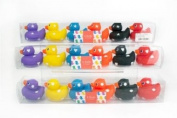 Deluxe Rubber Bath Duck 6.5cm with Design 6/pk Assorted Colours Toys *Only ONE Pack of 6 Duck Supply*