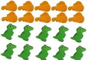 Viskey Yellow Fish & Dinosaurs 10Pcs+10Pcs Baby Bath Tub Bathing Rubber Squeaky Toys