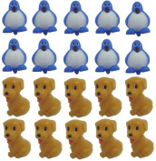 Viskey Penguins & Brown Dogs 10Pcs+10Pcs Baby Bath Tub Bathing Rubber Squeaky Toys