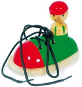 Wooden Threading Shoe Childrens Toy Game Tie Laces