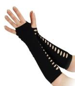 Sexy Black Ladder Gloves 25cm Long Cruella De Ville Biker Rocker Emo Fancy Dress