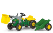 John Deere Kid Childrens Ride On Pedal Toy Tractor with Loader and Detachable Trailer
