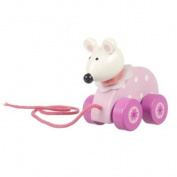 Wooden Pull Along Pink Mouse