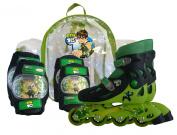 D'Arpèje BEN 10 OBEN 18 In-Line Skates Size 30 / 33 and 2 Protective Pads in Transparent Backpack