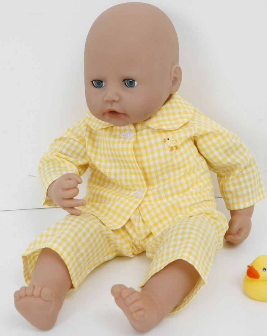 FRILLY LILY NEW FOR SPRING! YELLOW CHECKED CHICK PYJAMAS FOR 1820 INS DOLLS