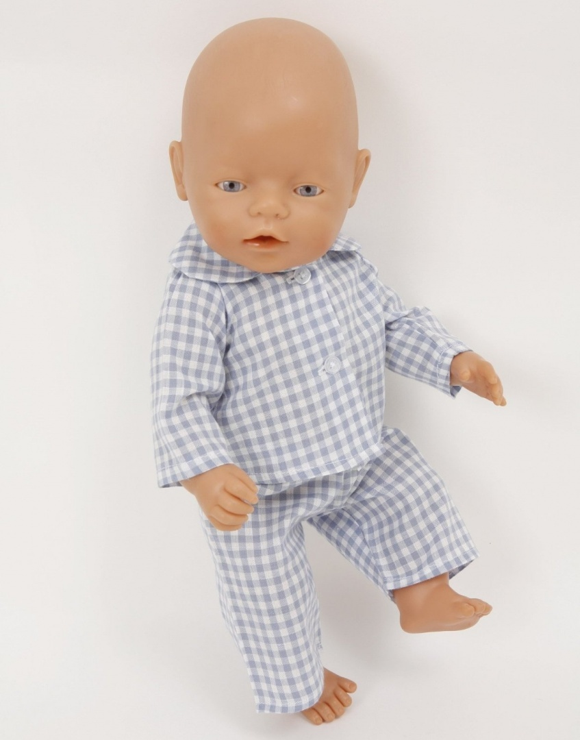 NEW!PALE BLUE CHECKED DOLLS PYJAMAS MED SIZE 1820 INS DOLLS AND BEARS