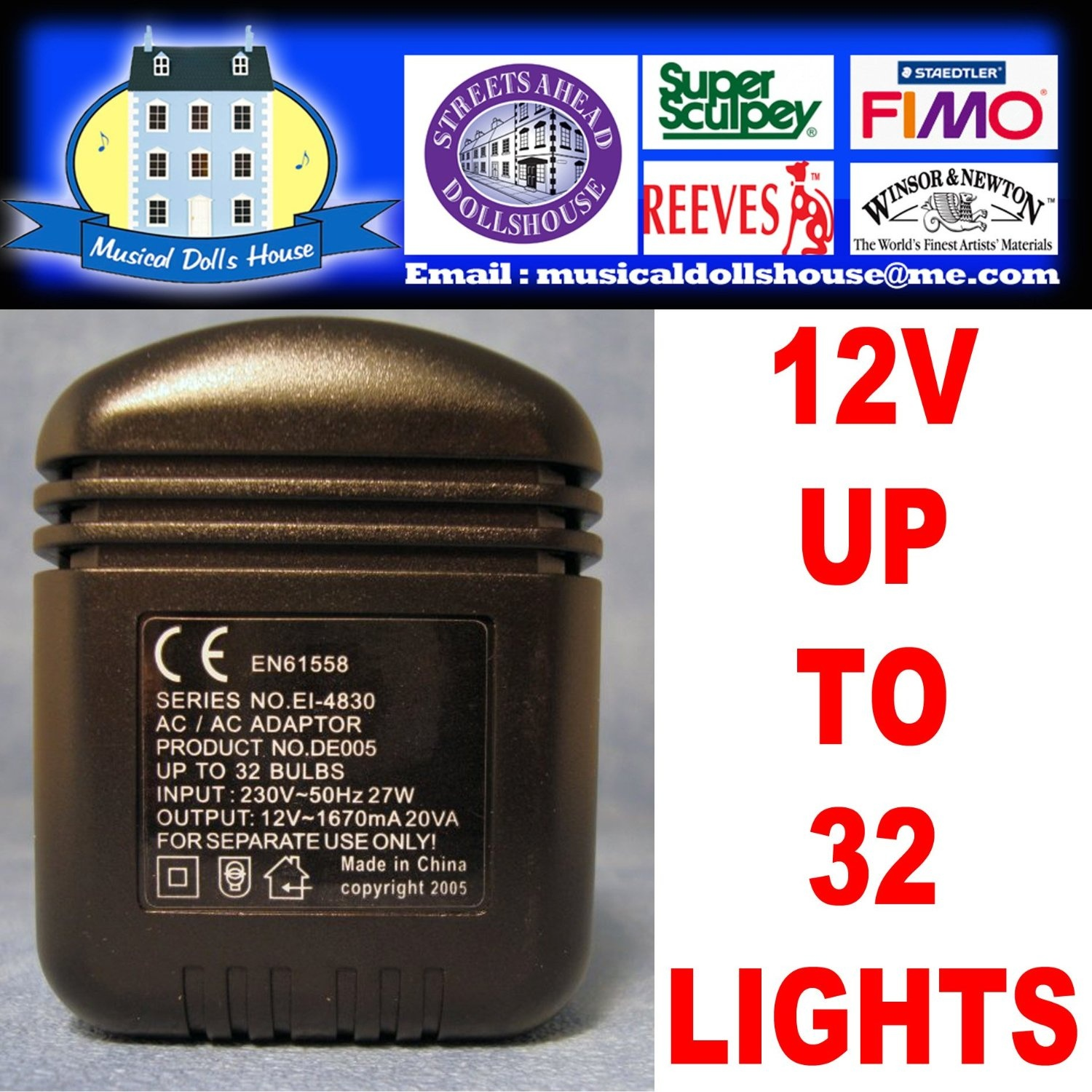 Dolls House Lighting Wiring And Connectors Starter Kit With 12 Volt Doll 2amp Power Supply