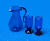 12th Scale Dolls House Accessory - Jug & Glasses - blue