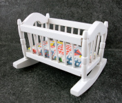 Dolls House Nursery Furniture Rocking Cradle Cot Wh384