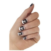 Bijou Boutique - Fancy Dress - Nails - French Tip - Black White with Flowers