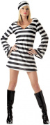 Ladies Convict Chick Small Fancy Dress Costume Womens Prisoner Inmate