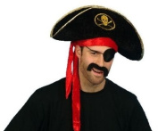 Adult Pirate Hat Black Velour with fitted red head band