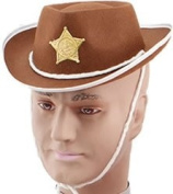 Child's Brown Cowboy Hat! Wild West Fancy Dress! Sheriff