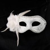 GadgetpoolUK White Feather Eye Face Mask Masquerade Venitian Carnival Curved
