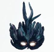 Deluxe Black Feather Masquerade Eye Mask