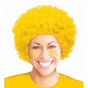 Curly Afro Wig Costume Party Headwear, Yellow, Fibre, 28cm x 20cm .