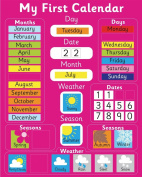 My First Magnetic Calendar - PINK (also available in BLUE). Rigid board 40 x 32cm with hanging loop