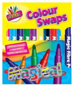 Pack Of 10 Bright Assorted Coloured Magic Felt Tip Colour Swap Pens