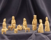 Nativity Set figures - Simple. Hand-carved from olive wood in the Holy Land. Height 9 cm (3,54 inches)..