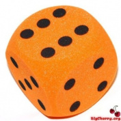 Big Cherry Giant Dice! One 16cm (160mm) Giant Foam Die, in Orange