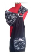 Palm and Pond Ring Sling - White Floral on Black
