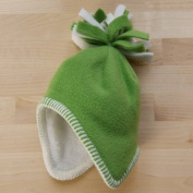 Tuppence and Crumble soft fleece Baby Tassel Hat Pea 3-6 months