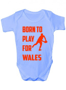 Born To Play For Wales Rugby Funny Babygrow~Babies Gift Boy/Girl Vest/Babies