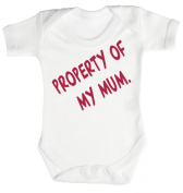 Baby Buddha - Property Of My Mum Baby Babygrow 100% Cotton Sizes 0M Upto 12M in 5 Colours