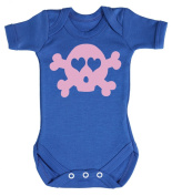 Baby Buddha - Pink Skull Baby Babygrow 100% Cotton Sizes 0M Upto 12M in 5 Colours