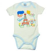 Souvenirs of France - Paris Baby Boy Bodysuit - Colour : White and Blue